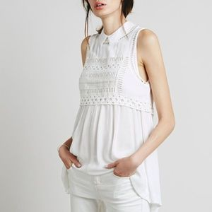 Free People Tops - Free People Soft White Knit Collar Blouse